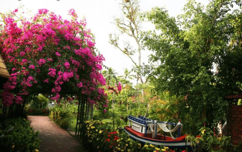 Con đường vào Langchia village ngập tràn sắc hoa