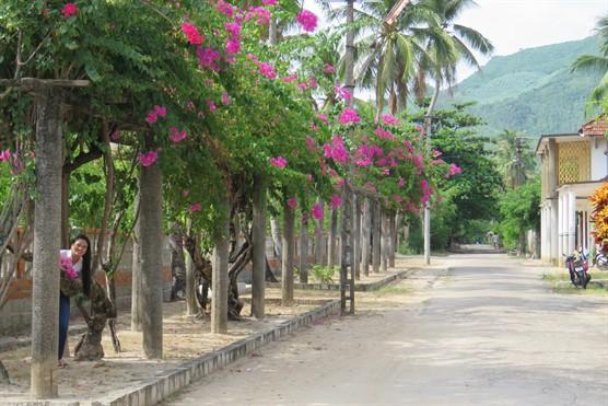 Hàng hoa giấy trên đường vào nhà lưu niệm Hàn Mặc Tử (Ảnh ST)