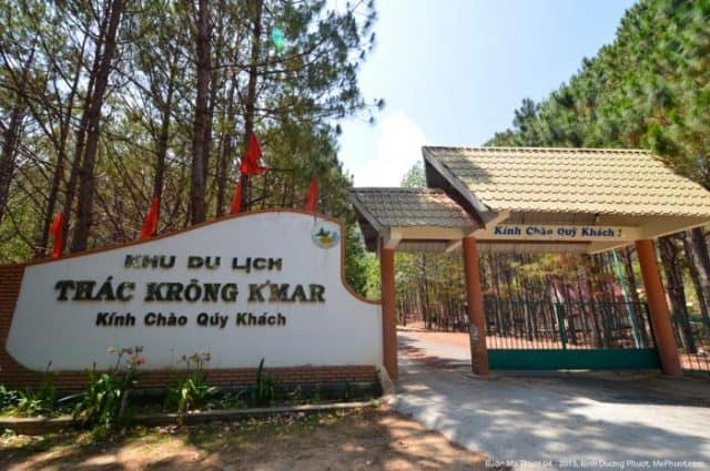 Cổng vào khu du lịch thác Krong Kmar (ẢNH ST)