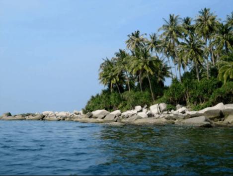 Hòn Hai Bờ Đập có một bãi biển nhỏ xinh với hàng dừa xanh thơ mộng