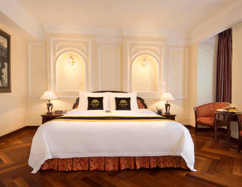 Phòng nghỉ khách sạn Majestic Saigon có lối thiết kế sang trọng