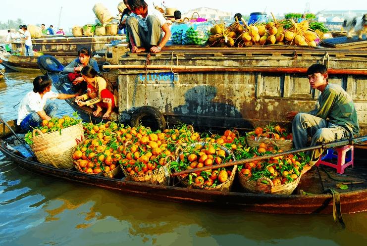Tại khu chợ nổi có bán nhiều loại trái cây miệt Vườn