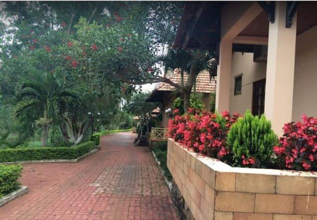 Khuôn viên đầy hoa tươi và cây xanh (Ảnh ST)