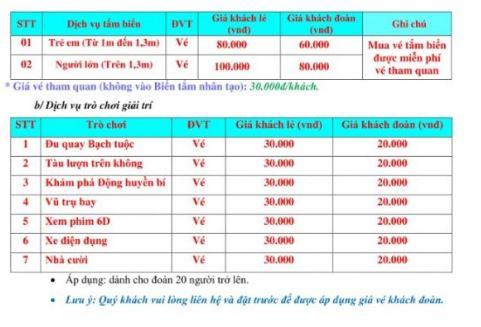 bảng giá dịch vụ khu du lịch nhà mát