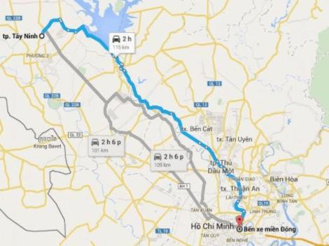 Bản đồ đường đi từ Sài Gòn tới Tây Ninh
