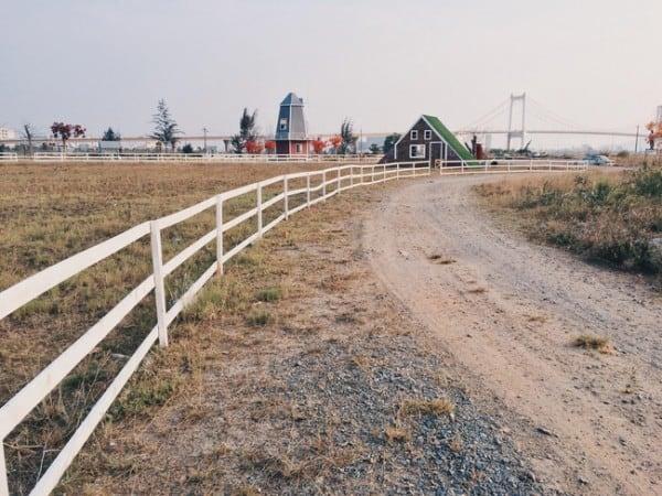 Chỉ cần đứng trên cầu Thuận Phước là bạn đã bao trọn tầm mắt Thuận Phước Field. (Ảnh: ST)