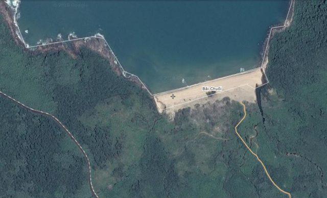 Bãi Chuối Đà Nẵng Map (Ảnh chụp vệ tinh: ST)