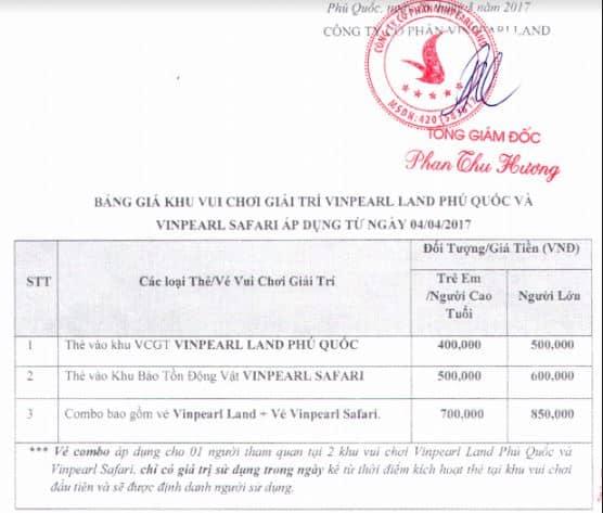 Bảng giá vé Khu vui chơi giải trí và Khu bảo tồn động vật Vinpearl Phú Quốc