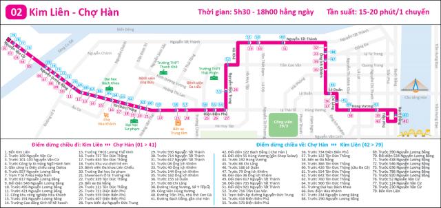 Lịch trình tuyến bus 02 tại Đà Nẵng (Ảnh ST)