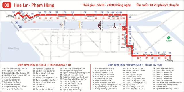 Tuyến 08: Hoa Lư - Phạm Hùng (Ảnh ST)