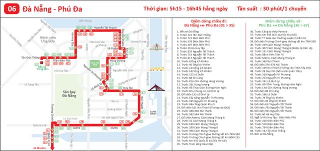 Lộ trình tuyến bus 06: Đà Nẵng Phú Đa (Ảnh ST)