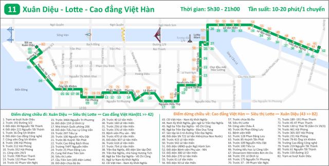 Tuyến 11:Xuân Diệu - Siêu thị Lotte - CĐ Việt Hàn (Ảnh ST)