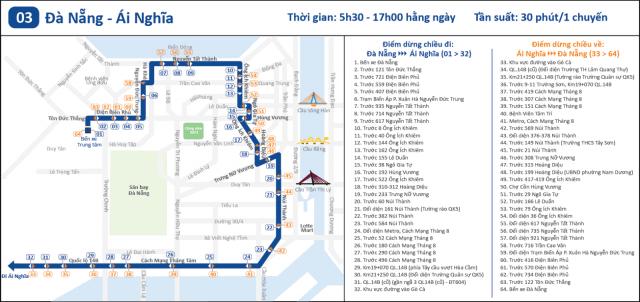 Lịch trình tuyến bus 03 (Ảnh ST)