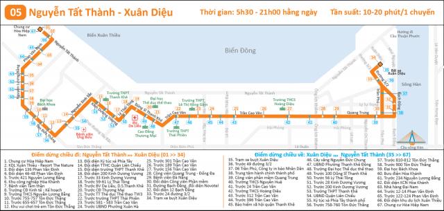 Tuyến bus 05 Nguyễn Tất Thành - Xuân Diệu (Ảnh ST)