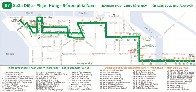 Lộ trình và thời gian chạy tuyến 07 tại Đà Nẵng (Ảnh ST)