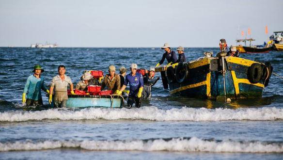 Pictures of fishermen in Phuoc Hai fishing village
