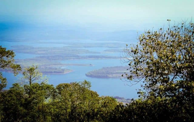 Standing on Ba Ra mountain looking down at Thac Mo Lake - a tourist destination in Binh Phuoc