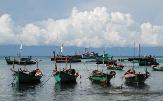 Thuyền ghe san sát bên bờ (ảnh ST)