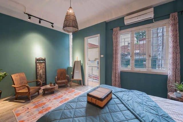 Phòng ngủ mang tông xanh mát mẻ