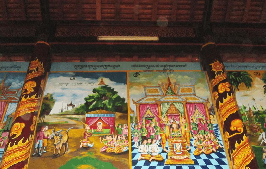 Trần chính điện được trang trí bốn bức bích họa lớn theo chủ đề: Phật Thích Ca đản sinh, xuất gia, đắc đạo và nhập niết bàn