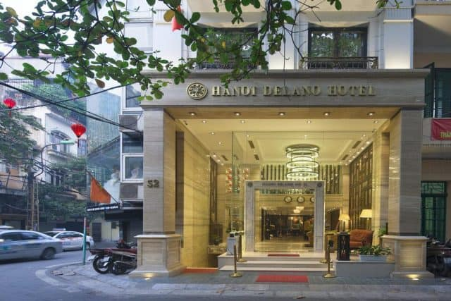 Bề ngoài khách sạn Hanoi Delano Hotel (ảnh ST)