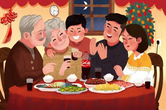 Bữa cơm gia đình sum vầy ấm áp ngày Tết