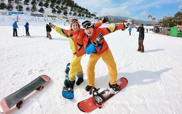 Trải nghiệm trượt tuyết tại Hàn Quốc dịp tết