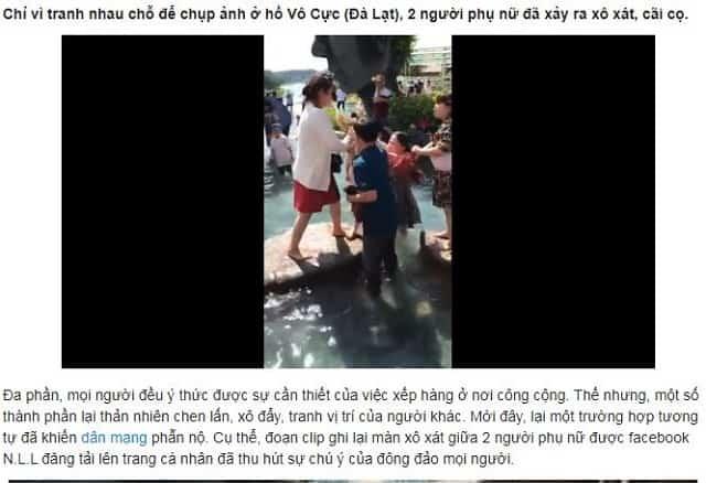 Hình ành 2 phụ nữ xô xát giành vị trí chụp hình tại Đà Lạt gây phẫn nộ