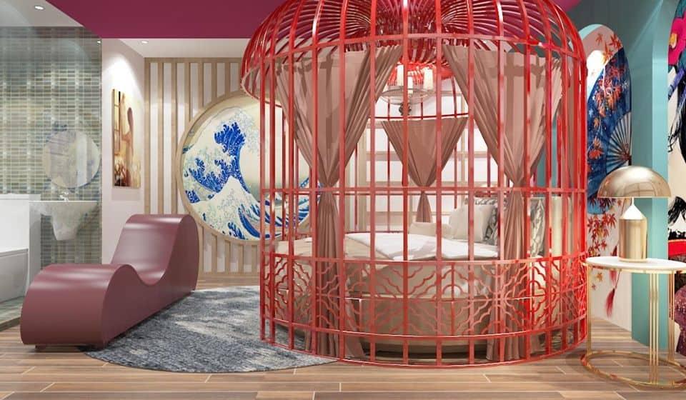 Thiết kế khách sạn tình nhân Mộc Lan kiểu lồng chim, đem lại cảm giác mới lạ, phấn khích cho các cặp đôi.