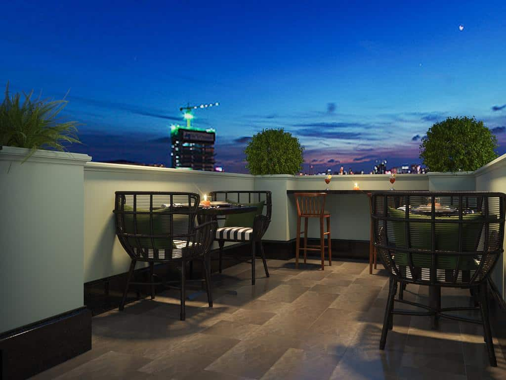 Khung cảnh lãng mạn của nhà hàng trên tầng thượng của khách sạn