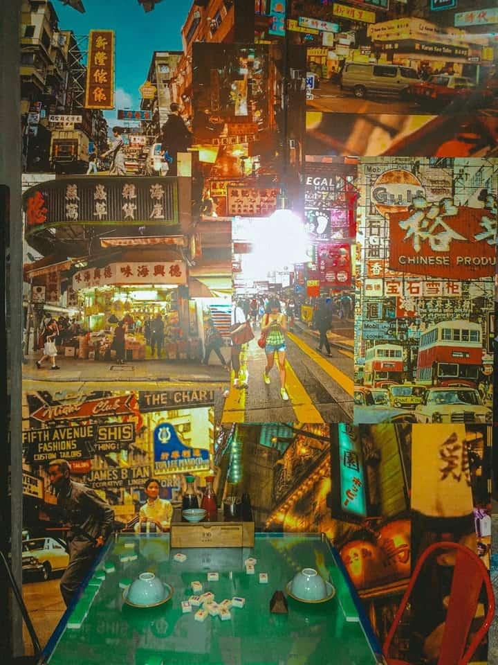 Một góc trang trí với những poster dán tường đậm nét HongKong có cá mạt chược một trò chơi nổi tiếng mà chúng ta khá quen thuộc trên phim ảnh