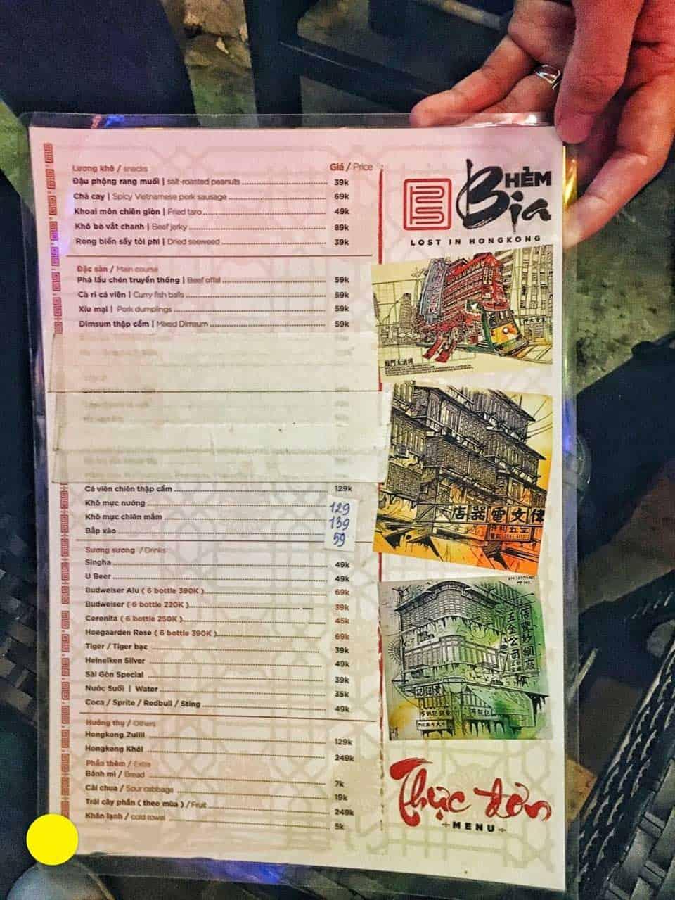 Cùng kham khảo qua menu tại hẻm bia nha- Giá cả phải chăng với nhiều sự lựa chọn