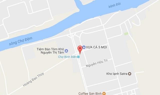 Sơ đồ vị trí chợ Bình Điền