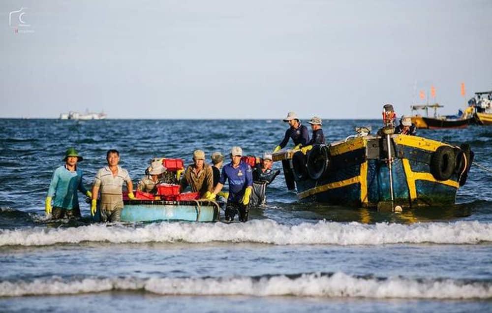 Sau mỗi chuyến ra khơi là thuỷ sản đầy ấp trên thuyền đem lại niềm vui trên gương mặt mỗi ngư dân