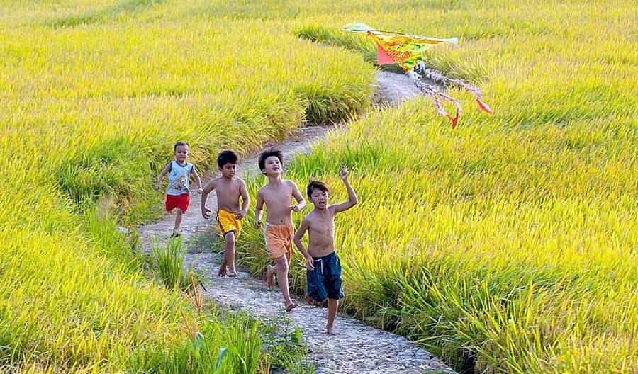 Thả diều vào những ngày đầu hè luôn luôn được những đứa trẻ miền quê mong đợi