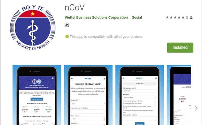 Ứng dụng NCOV hỗ trợ khai báo y tế toàn dân