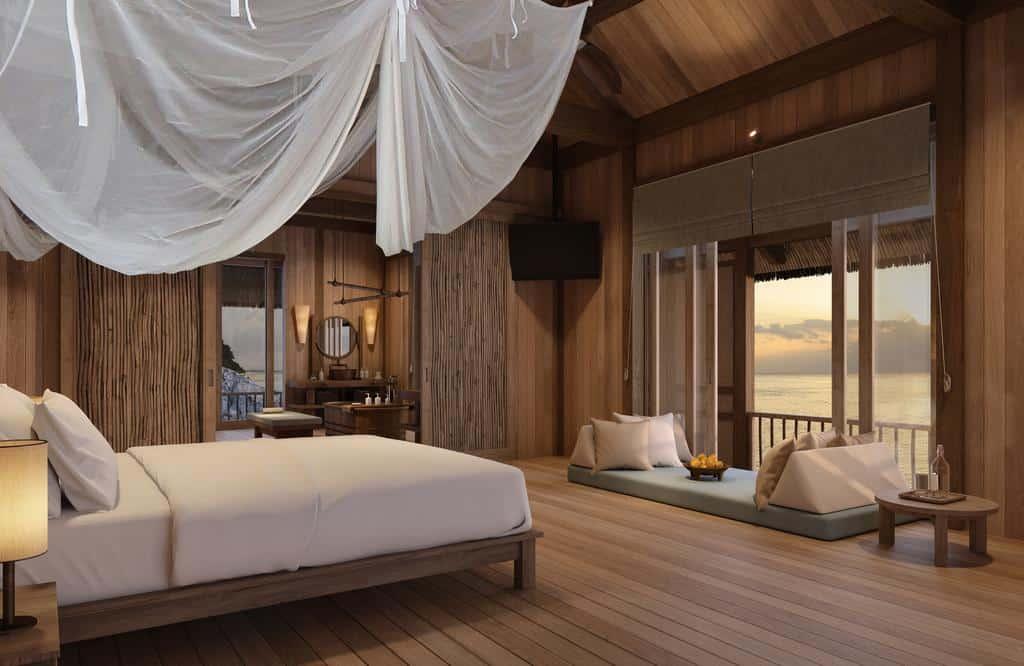 Phòng ngủ với nội thất hoàn toàn bằng gỗ tự nhiên