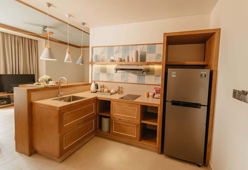 Căn hộ nghỉ dưỡng với căn bếp được trang bị đầy đủ