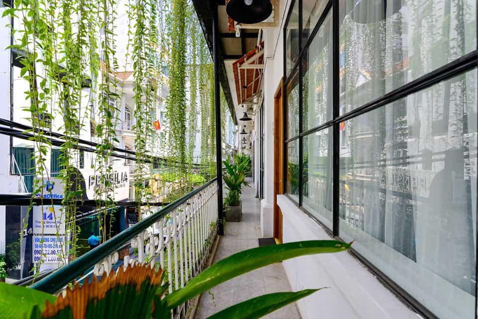 Ban công được phủ những mảng xanh rì mát mẻ. Hình: The Hut Boutique Hotel - Notre Dame