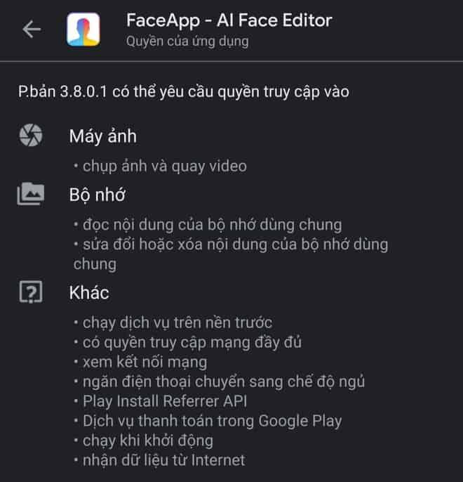Những điều khoản của FaceApp người dùng cần chấp nhận để sử dụng các tính năng App - Nguồn ảnh: Internet