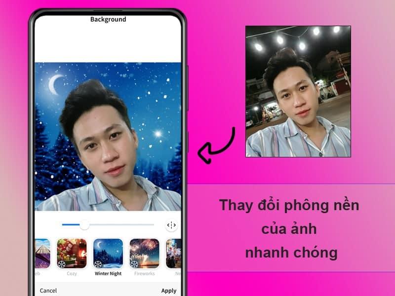 Thay đổi background cực đơn giản trên aceApp - Nguồn ảnh: Internet