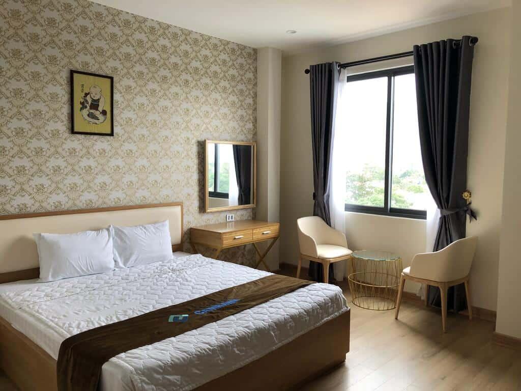 Phòng nghỉ có thiết kế hiện đại và thoáng mát