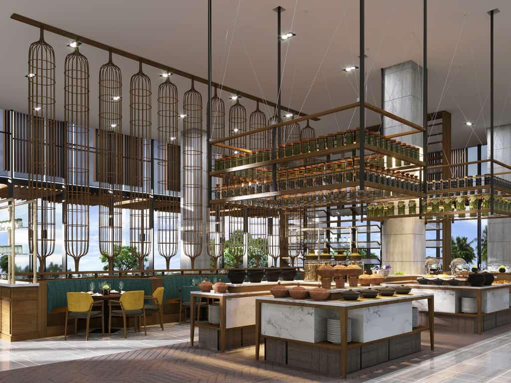 Không gian nhà hàng sang trọng với màu sắc tự nhiên