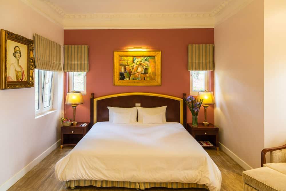 Phòng nghỉ với màu sắc hiện đại kết hợp hài hòa với hơi hướng cổ điển