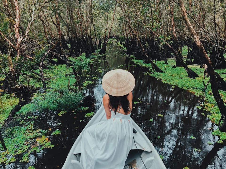 Rừng tràm Trà Sư mùa nước nổi. Hình: Hoàng Minh Thương