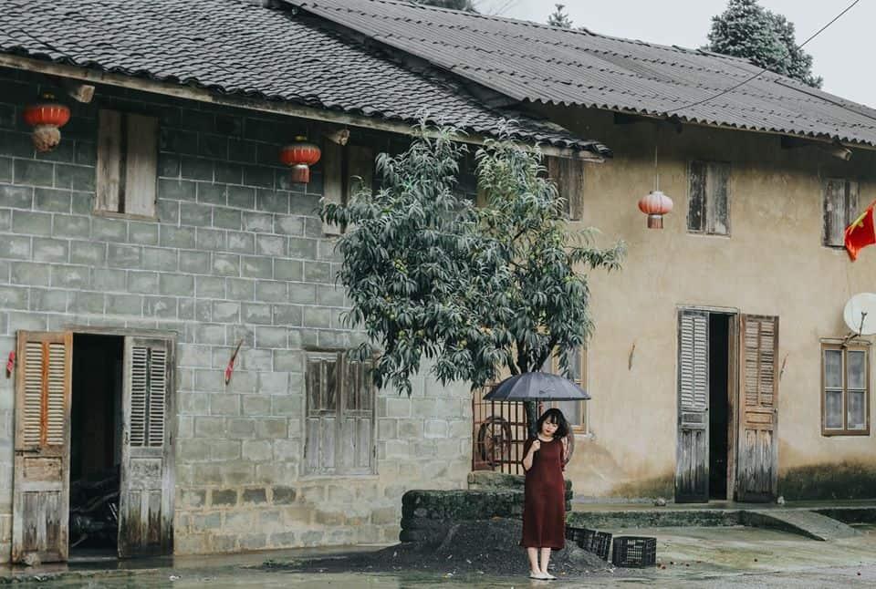 Thị trấn Phó Bảng bình yên ngày mưa. Hình: Hoàng Linh Hà