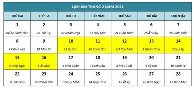 Lịch nghỉ Tết Nguyên Đán Tân Sửu 2021 dự kiến.