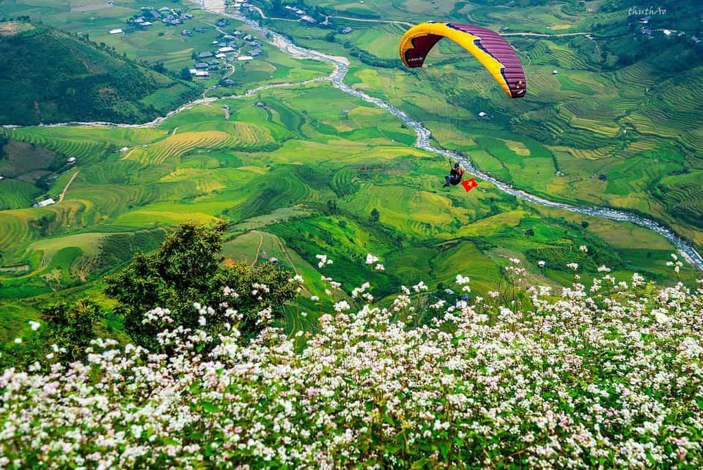 Trải nghiệm bay dù lượn trên đèo Khau Phạ. Hình: Sưu tầm
