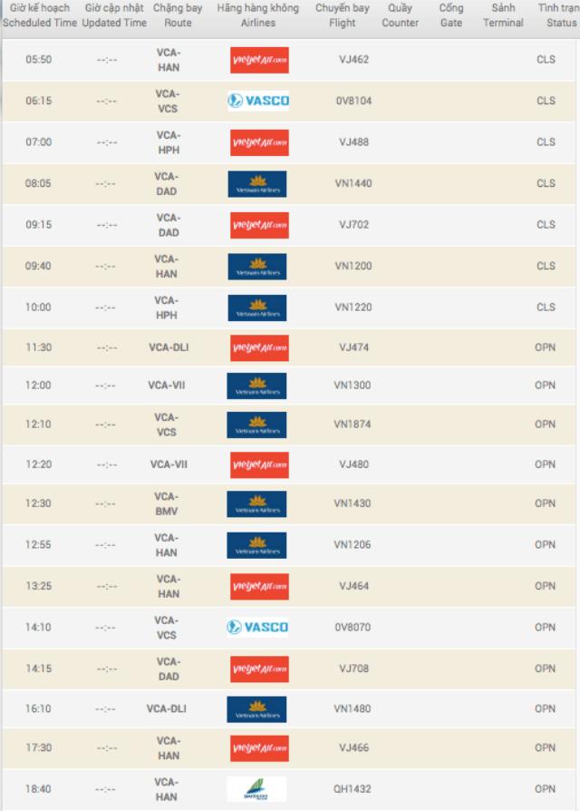 Lịch bay của sân bay Cần Thơ được cập nhật hàng ngày. Ảnh: Internet