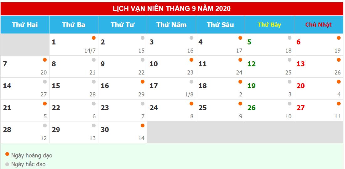 Lịch âm dương tháng 9 năm 2020
